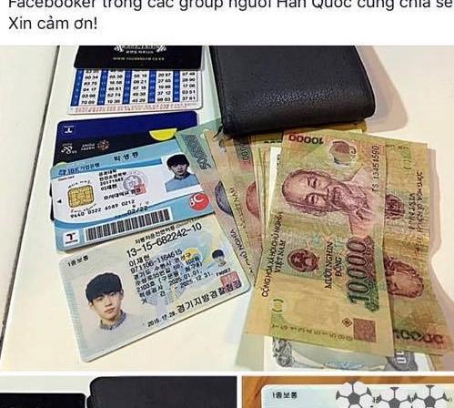 Du khách Hàn Quốc mừng rỡ khi nhận lại ví từ chàng trai Việt