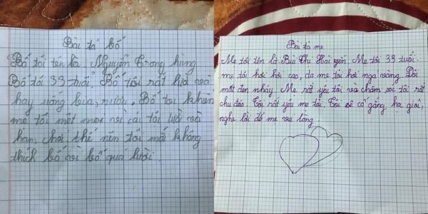 Sự khác biệt về lời văn, trong cách miêu tả bố và mẹ của cô bé học sinh tiểu học