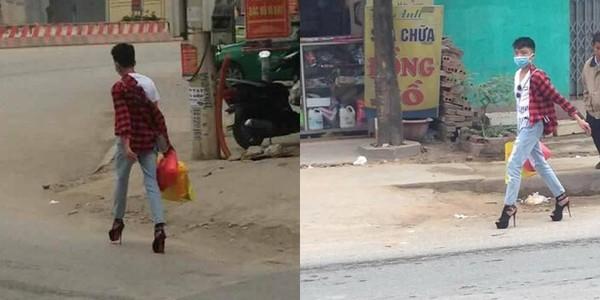 Dân mạng truy lùng danh tính chàng trai mang cao gót trên đường phố