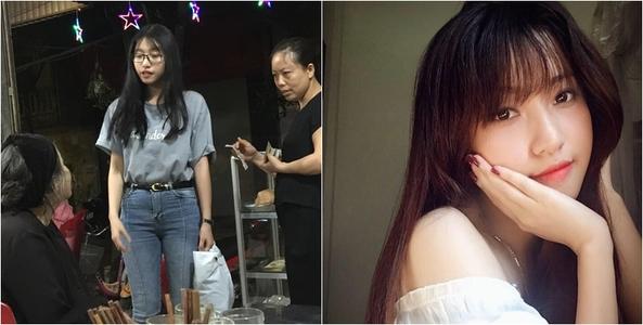 Cô giáo xinh đẹp mua 20 lần ăn cơm cho cụ bà ăn xin nghèo ở Ninh Bình