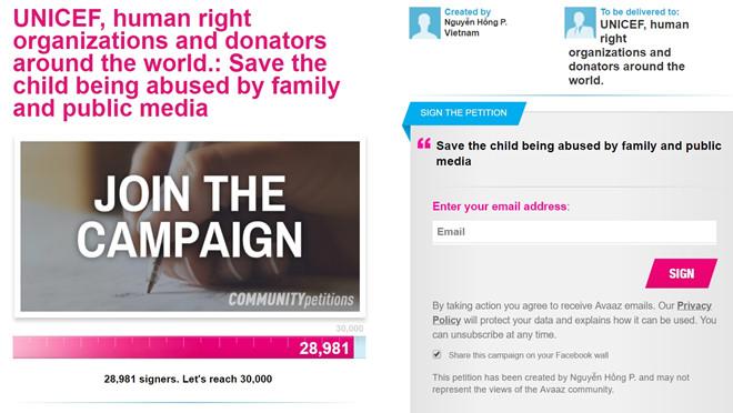 Hơn 28.000 chữ ký gửi UNICEF sau vụ nữ sinh tố MC Minh Tiệp bạo hành