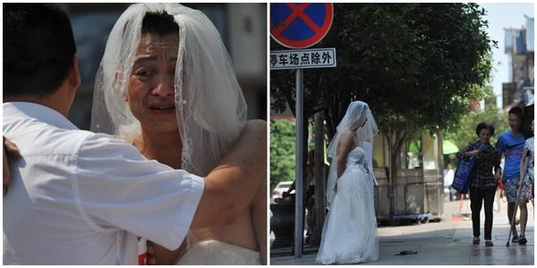 Người cha mặc váy cưới trên phố xin tiền cứu con gái ung thư máu