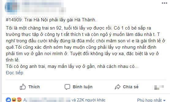 Quan điểm trai Hà Nội phải lấy gái Hà thành khiến mạng xã hội dậy sóng