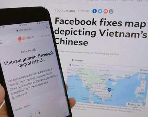 Báo chí quốc tế lên tiếng về bản đồ sai chủ quyền của Facebook