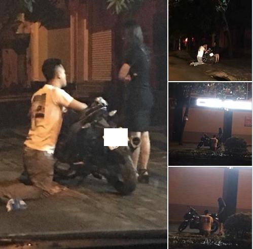 Cô gái ngồi trên xe mặc cho chàng trai quỳ gối xin lỗi giữa đường