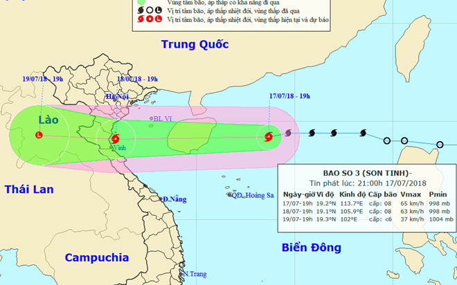 Bão số 3 sẽ đổ bộ vào các tỉnh từ Hải Phòng đến Hà Tĩnh
