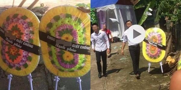 Con gái gửi vòng hoa đến mừng cưới bố khiến CĐM xôn xao