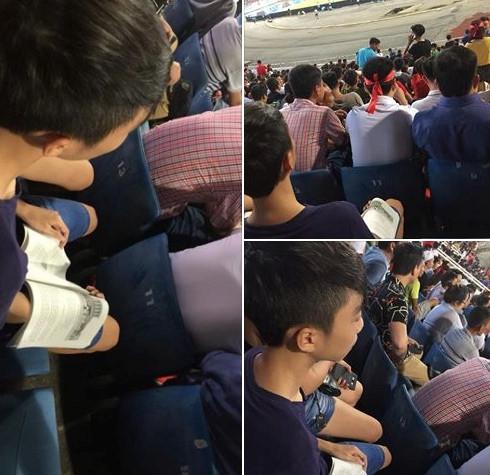 Đi cổ vũ Olympic Việt Nam vẫn mang sách giáo khoa học bài