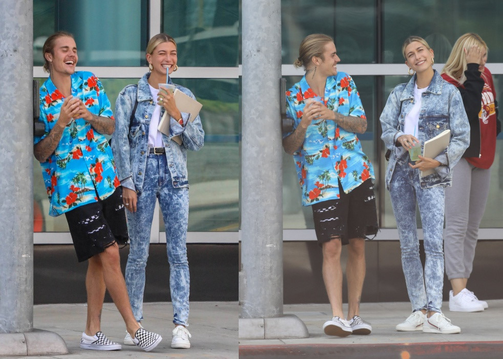 Justin Bieber và Hailey Baldwin nắm tay, cười nói trên đường phố