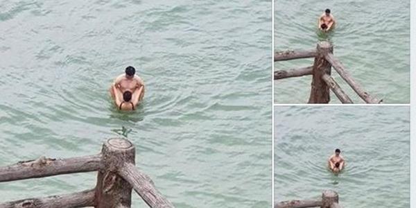 """Cặp đôi có """"tư thế lạ"""" dưới biển Cát Bà khiến nhiều người ngán ngẩm"""