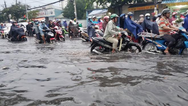 Nhiều tuyến đường Sài Gòn ngập sâu sau mưa lớn