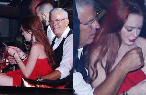 Lindsay Lohan tình tứ bên người đàn ông lớn tuổi trong hộp đêm
