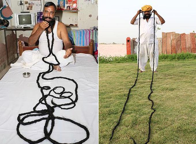 Người đàn ông Ấn Độ nuôi bộ ria mép dài gần 7m hơn 30 năm