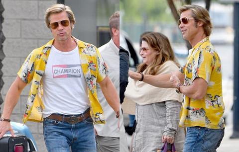 Brad Pitt mặc áo sặc sỡ, vui vẻ trên trên phim trường bom tấn mới