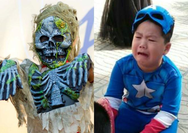 """Cậu bé lớp 3 hóa trang thành zombie khiến bạn """"khóc cả buổi"""""""