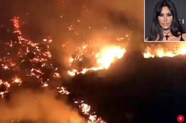 Kim Kardashian phải vội vã sơ tán nhà vì bị đám cháy lớn quét qua