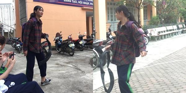 Nữ sinh vác cả săm xe thủng lên làm bằng chứng đi học trễ