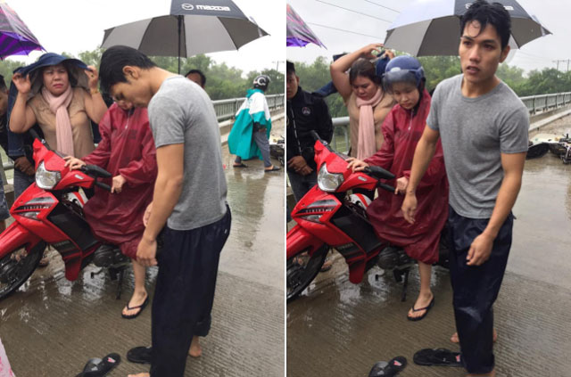 Nam thanh niên nhảy xuống sông cứu người gặp nạn vì bão số 9
