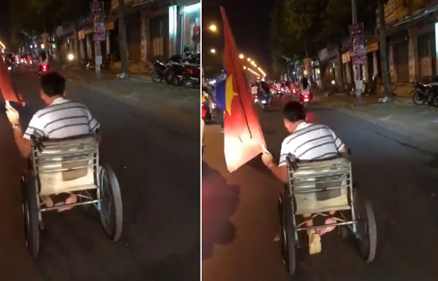 CĐV ăn mừng trên xe lăn, cụ già mang trống ra giữa phố gây xúc động