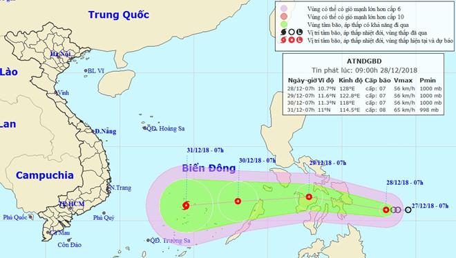 Áp thấp nhiệt đới tăng tốc, tiến gần bờ biển Philippines