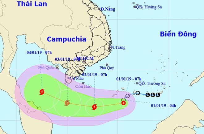 Áp thấp nhiệt đới tiến gần mũi Cà Mau, khả năng thành bão cấp 8