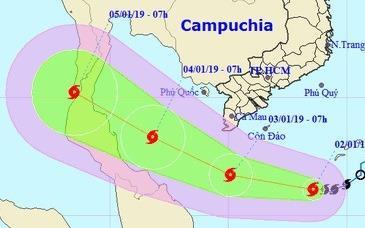 Bão số 1 hướng vào đất liền Nam Bộ trước khi mạnh thêm