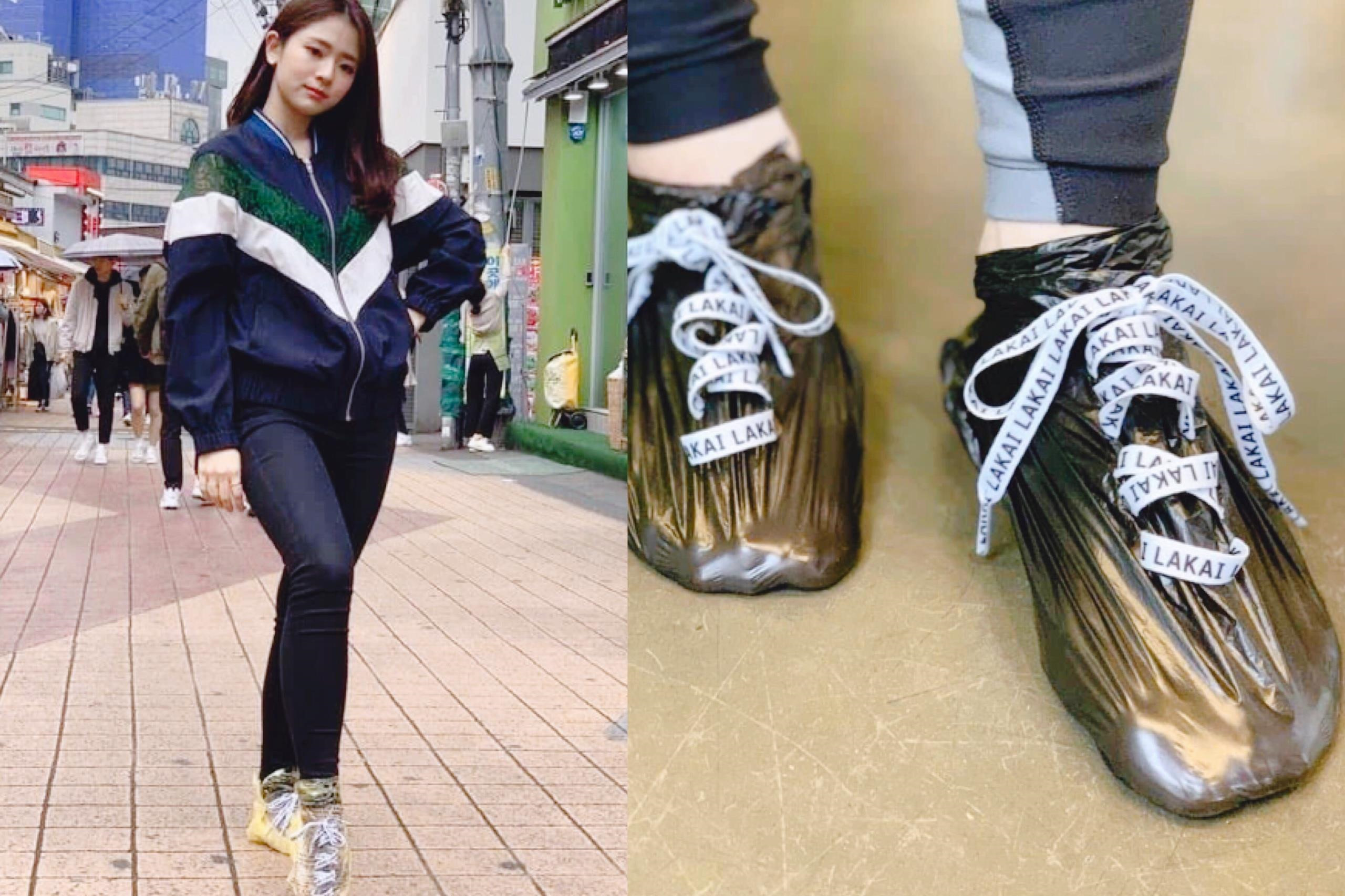 """Một ngày túi nilon lại thành """"trend giày"""" ở Hàn Quốc"""