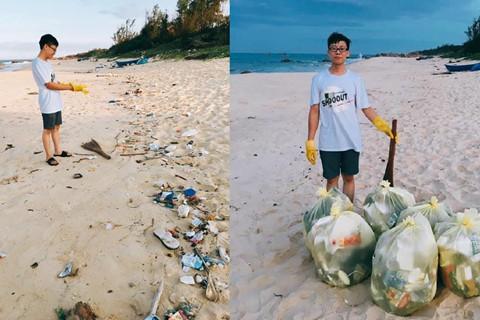 Tuần trăng mật của cặp vợ chồng son trên bãi biển Phú Yên đầy rác