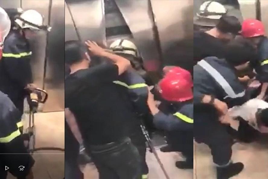 Cảnh sát PCCC phá cửa, cứu 21 người mắc kẹt trong thang máy