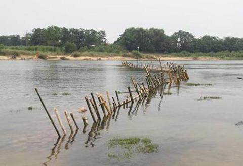 """Người dân tháo dỡ """"trận địa"""" cọc tre ngăn cát tặc trên sông Bồ"""