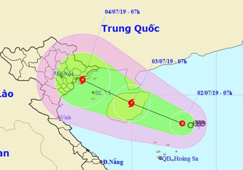 Tâm bão có thể ở vùng biển từ Quảng Ninh đến Nam Định trong 2 ngày tới