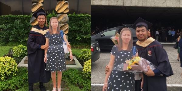 Chàng cử nhân ôm hình mẹ quá cố chụp ảnh tốt nghiệp