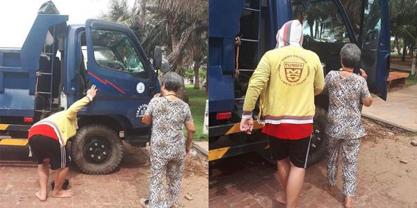 Hình ảnh tài xế đưa mẹ du lịch trên chiếc xe ben khiến CĐM xúc động