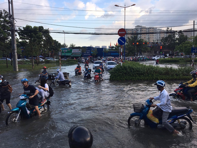 Triều cường lên cao, người Sài Gòn lội nước về nhà