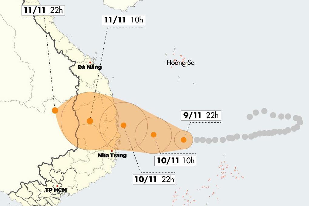 Bão số 6 mạnh cấp 11 áp sát Quảng Ngãi - Khánh Hòa