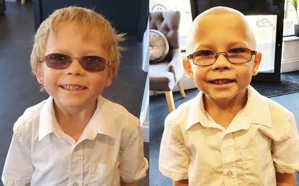 Cậu bé Anh xin mẹ cạo trọc đầu để động viên bạn bị ung thư