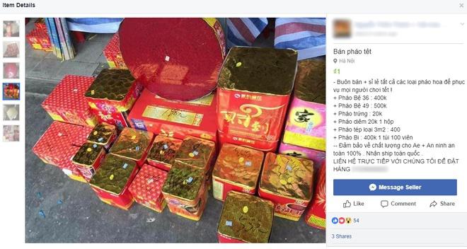 Yêu cầu xử lý việc mua bán pháo nổ trên Facebook