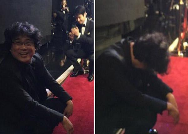 Bong Joon-ho choáng, ngồi sụp sau cánh gà vì thắng 4 giải ở Oscar 2020