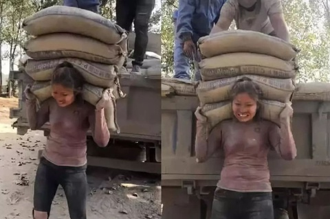 Sự thật về cô gái Trung Quốc vác 20 tấn xi măng mỗi ngày