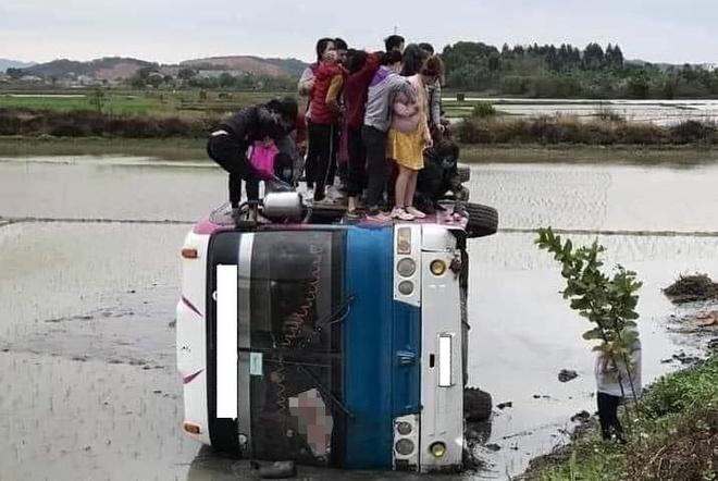 Ôtô chở 40 công nhân lật xuống ruộng