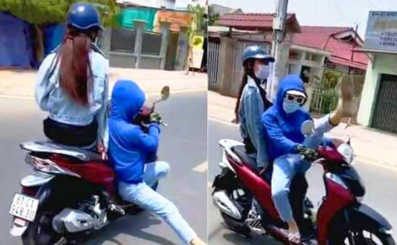 Triệu tập người 'làm xiếc' trên xe máy ở Bình Dương