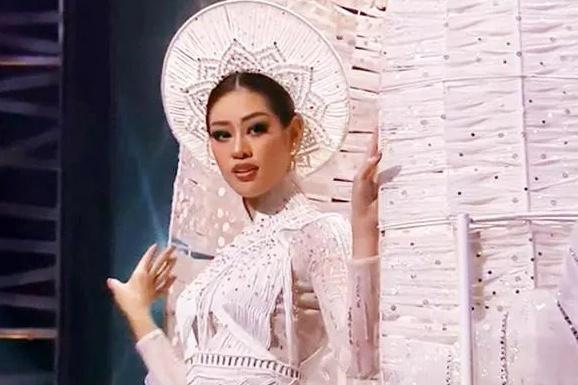 Khánh Vân trong đêm thi trang phục dân tộc ở Hoa hậu Hoàn vũ