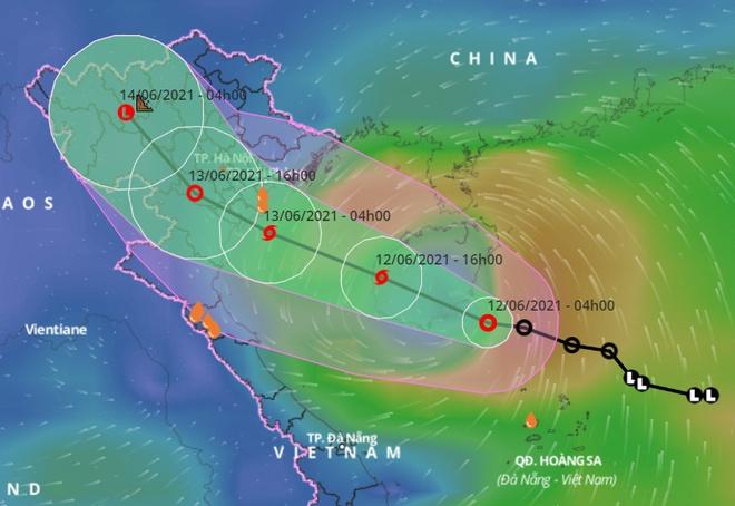 Áp thấp nhiệt đới hướng thẳng vào vịnh Bắc Bộ