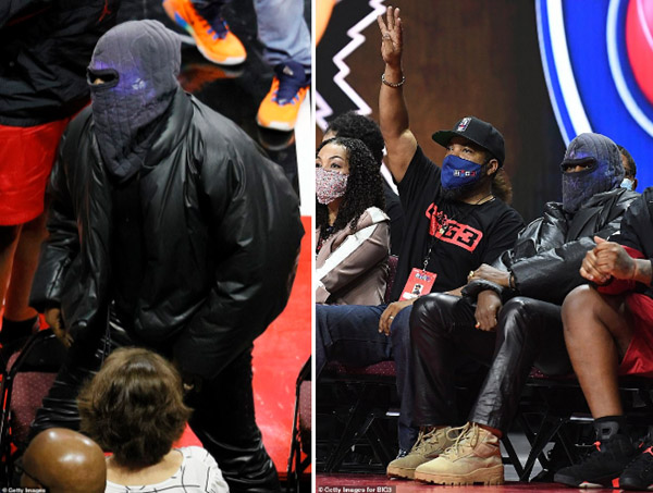 Kanye West trùm kín mặt đi xem bóng rổ